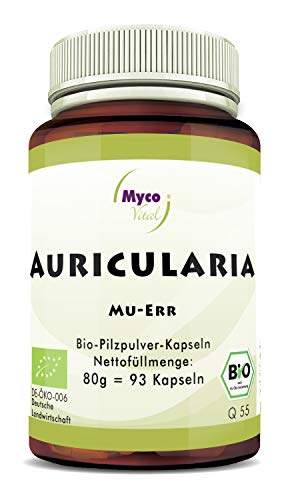 Pilzpulverkapseln BIO Auricularia | 93 Pilz-Kapseln je 500mg Pulver | Vitalpilz Pulver Made in Germany | Superfood 100% vegan